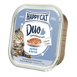 Happy Cat Duo Menu Nauta & Turska 12 x 100 g